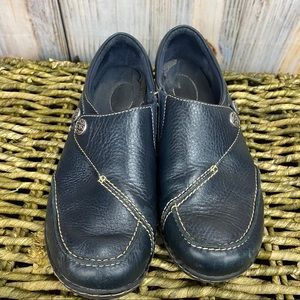 CLARKS Leather Slip On Loafers
